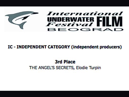<em>The Angel's Secrets</em>, honoured at the International Underwater Film Festival of Belgrade